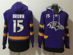 Mens Nfl Baltimore Ravens #15 Marquise Brown Purple Pocket Pullover Hoodie Jersey