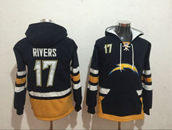 Mens Nfl Los Angeles Chargers #17 Philip Rivers Black Pocket Pullover Hoodie Jersey
