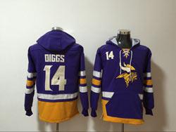 Mens Nfl Minnesota Vikings #14 Stefon Diggs Purple Pocket Pullover Hoodie