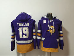 Mens Nfl Minnesota Vikings #19 Adam Thielen Purple Pocket Pullover Hoodie
