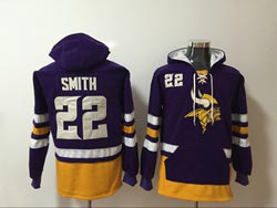 Mens Nfl Minnesota Vikings #22 Harrison Smith Purple Pocket Pullover Hoodie