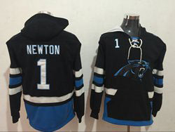 Mens Nfl Carolina Panthers #1 Cam Newton Black Pocket Pullover Hoodie