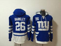 Mens Nfl New York Giants #26 Saquon Barkley Blue Pocket Pullover Hoodie