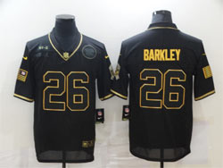 Mens Nfl New York Giants #26 Saquon Barkley Black Retro Golden 2020 Salute To Service Limited Jersey