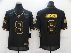 Mens Nfl Baltimore Ravens #8 Lamar Jackson Black Retro Golden 2020 Salute To Service Limited Jersey