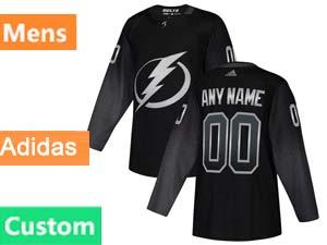Mens Nhl Tampa Bay Lightning Custom Made Black Alternate Adidas Jersey
