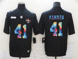 Mens Nfl New Orleans Saints #41 Alvin Kamara Black Rainbow Vapor Untouchable Limited Nike Jersey