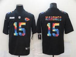 Mens Nfl Kansas City Chiefs #15 Patrick Mahomes Black Rainbow Vapor Untouchable Limited Nike Jersey