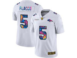Mens Nfl Denver Broncos #5 Joe Flacco White Rainbow Vapor Untouchable Limited Nike Jersey