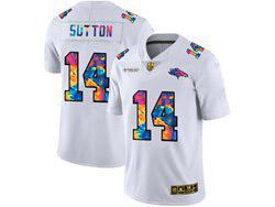Mens Nfl Denver Broncos #14 Courtland Sutton White Rainbow Vapor Untouchable Limited Nike Jersey