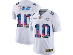Mens Nfl Chicago Bears #10 Mitchell Trubisky White Rainbow Vapor Untouchable Limited Nike Jersey