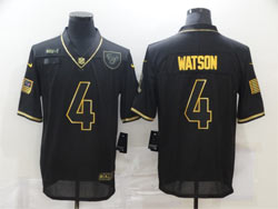 Mens Nfl Houston Texans #4 Deshaun Watson Black Retro Golden 2020 Salute To Service Limited Jersey