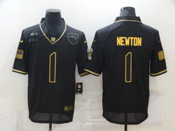 Mens Nfl New England Patriots #1 Cam Newton Black Retro Golden 2020 Salute To Service Limited Jersey