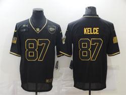 Mens Nfl Kansas City Chiefs #87 Travis Kelce Black Retro Golden 2020 Salute To Service Limited Jersey