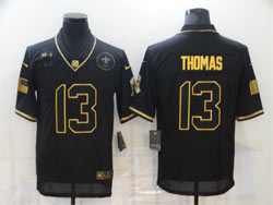 Mens Nfl New Orleans Saints #13 Michael Thomas Black Retro Golden 2020 Salute To Service Limited Jersey