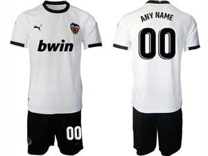 Mens 20-21 Soccer Valencia Cf ( Custom Made ) White Home Short Sleeve Suit Jersey