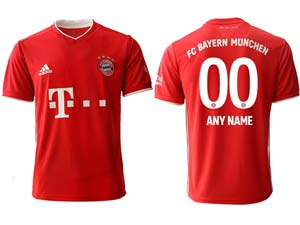 Mens 20-21 Soccer Bayern Munchen ( Custom Made ) Red Home Thailand Short Sleeve Jersey