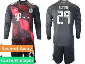 Mens 20-21 Soccer Bayern Munchen Current Player Black Second Away Long Sleeve Suit Jersey