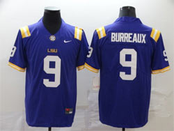 Mens Ncaa Nfl Lsu Tigers #9 Burreaux Purple Vapor Untouchable Limited Nike Jersey