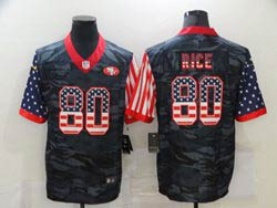 Mens Nfl San Francisco 49ers #80 Jerry Rice 2020 Camo Usa Flag Salute To Service Limited Nike Jersey