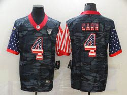Mens Nfl Las Vegas Raiders #4 Derek Carr 2020 Camo Usa Flag Salute To Service Limited Nike Jersey