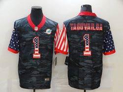 Mens Miami Dolphins #1 Tua Tagovailoa 2020 Camo Usa Flag Salute To Service Limited Nike Jersey