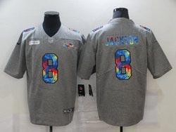 Mens Nfl Baltimore Ravens #8 Lamar Jackson Gray Rainbow Vapor Untouchable Limited Nike Jersey