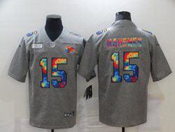 Mens Nfl Kansas City Chiefs #15 Patrick Mahomes Gray Rainbow Vapor Untouchable Limited Nike Jersey