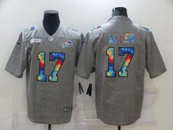 Mens Nfl Buffalo Bills #17 Josh Allen Gray Rainbow Vapor Untouchable Limited Nike Jersey