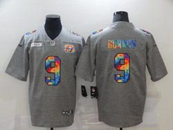 Mens Nfl Cincinnati Bengals #9 Joe Burrow Gray Rainbow Vapor Untouchable Limited Nike Jersey