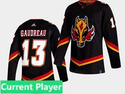 Mens Nhl Calgary Flames Current Player Black 2021 Reverse Retro Alternate Adidas Jersey