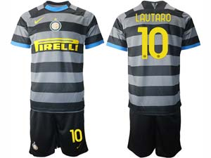 Mens 20-21 Soccer Inter Milan Club ( Custom Made ) Black Second Away Short Sleeve Suit Jersey