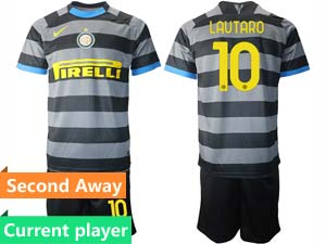 Mens 20-21 Soccer Inter Milan Club Current Player Black Second Away Short Sleeve Suit Jersey