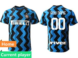 Mens 20-21 Soccer Inter Milan Club Current Player Blue Home Thailand Short Sleeve Jersey