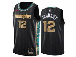 Mens Nba Memphis Grizzlies #12 Ja Morant Black 2021 City Edition Nike Swingman Jersey