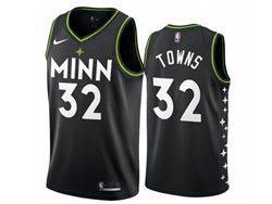 Mens 2021 Nba Minnesota Timberwolves #32 Karl-anthony Towns Black City Edition Nike Swingman Jersey