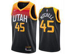 Mens Nba Utah Jazz #45 Donovan Mitchell Black 2021 City Edition Nike Swingman Jersey