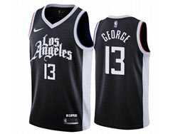 Mens Nba Los Angeles Clippers #13 Paul George Black 2020-21 City Edition Nike Swingman Jersey