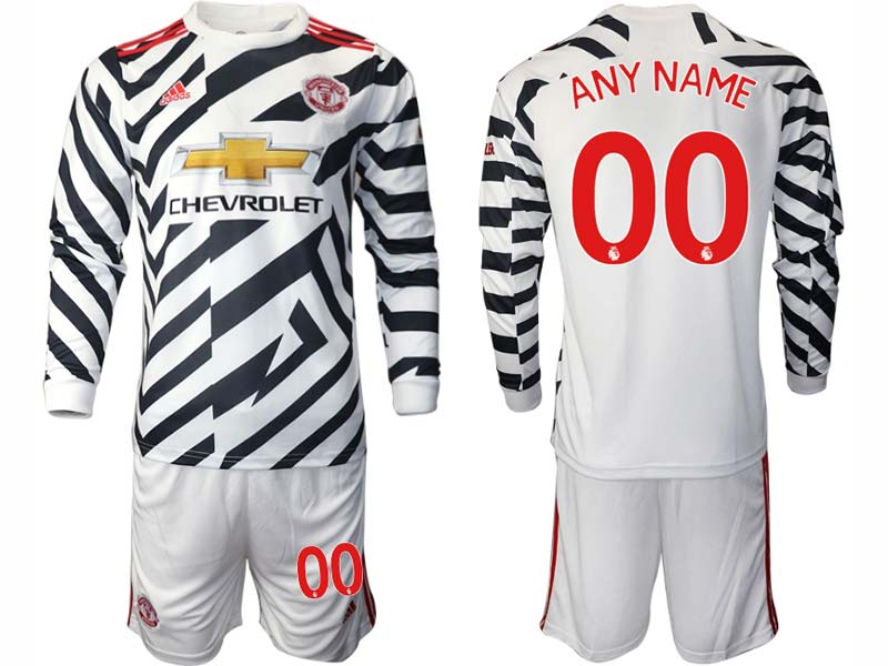 Mens 20-21 Soccer Manchester United Club ( Custom Made ) White Second Away Long Sleeve Suit Jersey
