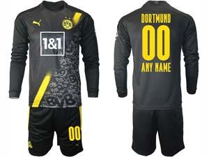 Mens 20-21 Soccer Borussia Dortmund Club ( Custom Made ) Black Away Long Sleeve Suit Jersey