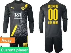 Mens 20-21 Soccer Borussia Dortmund Club Current Player Black Away Long Sleeve Suit Jersey