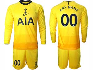 Mens 20-21 Soccer Tottenham Hotspur Club ( Custom Made ) Yellow Second Away Long Sleeve Suit Jersey