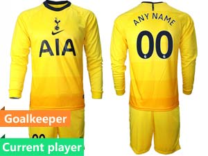 Mens 20-21 Soccer Tottenham Hotspur Club Current Player Yellow Second Away Long Sleeve Suit Jersey