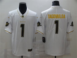 Mens Miami Dolphins #1 Tua Tagovailoa White Golden Vapor Untouchable Limited Nike Jersey