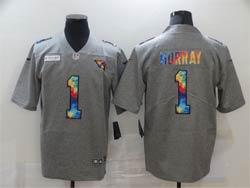 Mens Nfl Arizona Cardinals #1 Kyler Murray Gray Rainbow Vapor Untouchable Limited Nike Jersey