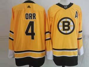 Mens Nhl Boston Bruins #4 Bobby Orr Yellow 2021 Reverse Retro Alternate Adidas Jersey
