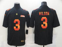 Mens Nfl Seattle Seahawks #3 Russell Wilson Black Colorful Vapor Untouchable Limited Nike Jersey