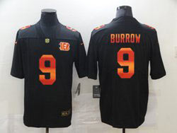 Mens Nfl Cincinnati Bengals #9 Joe Burrow Black Colorful Vapor Untouchable Limited Nike Jersey