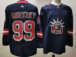 Mens Nhl New York Rangers #99 Wayne Gretzky Blue 2021 Reverse Retro Alternate Adidas Jersey