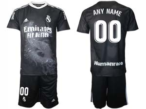 Mens 20-21 Soccer Real Madrid Club Current Player Black Adidas Short Sleeve Suit Jersey